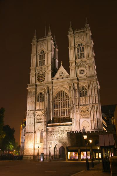 Westminster Abbey front facade in night light