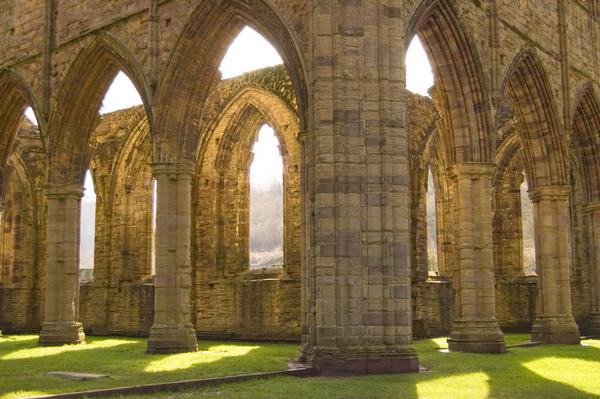 Glorious glowing arches at Tintern Abbey, Wales