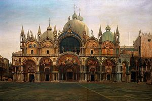 J W Bunney, Western Fa�ade of the Basilica of San Marco, Venice, 1877-1822. From the Ruskin Collection at the Millennium Gallery. Courtesy the Guild of St George and Museums Sheffield
