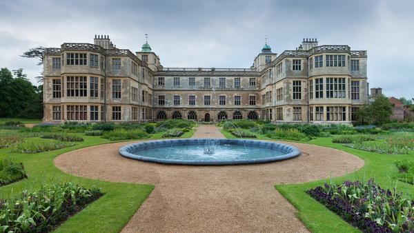 Exterior View of whole of Audley End House with fountain in foreground