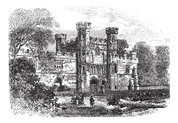 Old engraving of the ruins of Battle Abbey