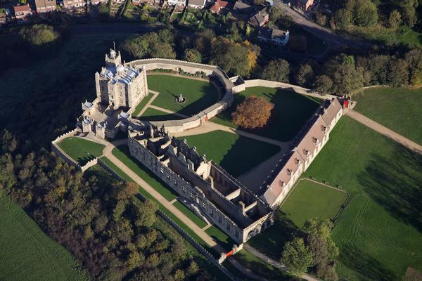 Fantastic aerial view showing the layout of Bolsover Castle Derbyshire
