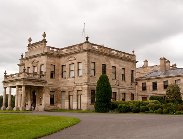 Impressive entrance to Brodsworth Hall seen from the driveway