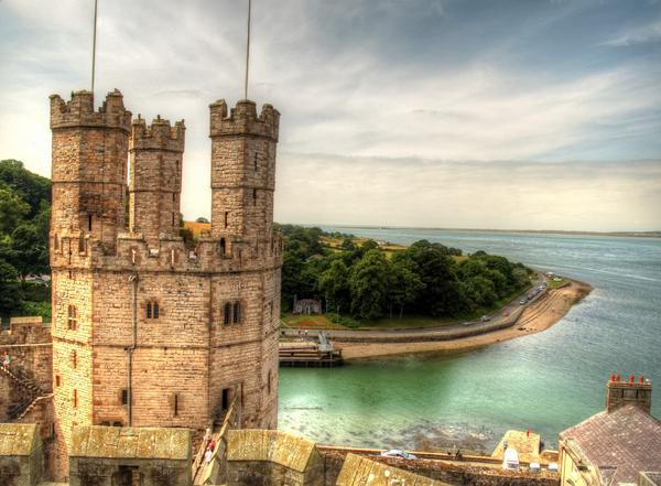 Dreamy view of Caernarvon Castle Tower