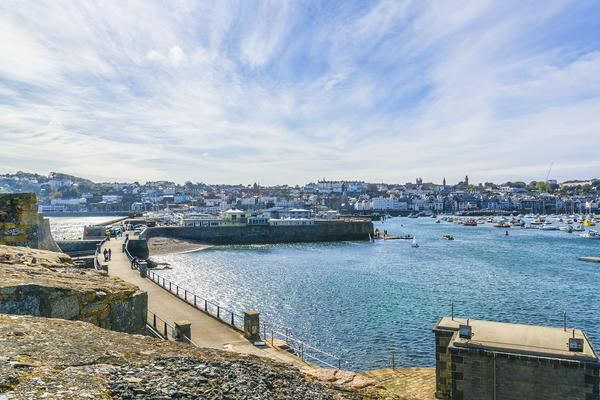 View of St Peter Port as seen from Castle Cornet on a sunny day