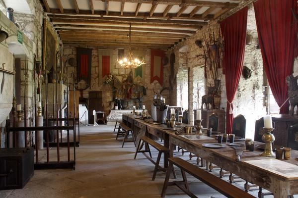 The Dining Hall at Chillingham Castle set out for a meal
