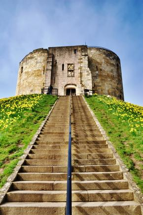 View up the steps to Cliffords Tower, York, England