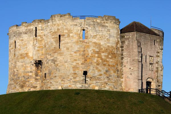The medieval keep of Clifford's Tower in York England