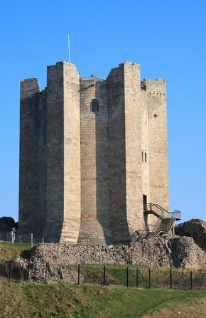 View of Tower at Conisbrough Castle on bright sunny day