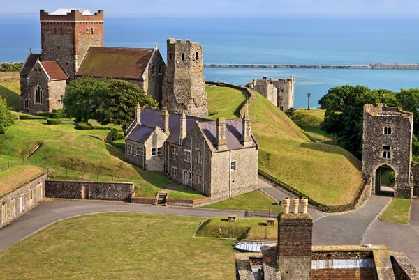 Panoramic view of the St Mary in Castro church in the grounds of Dover Castle in England (UK)