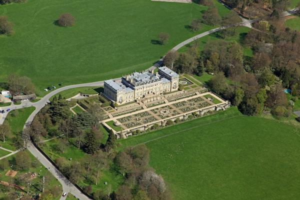 Aerial view of Harewood House in Leeds, West Yorkshire