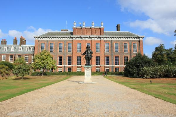 The front of Kensington Palace, London on a sunny day