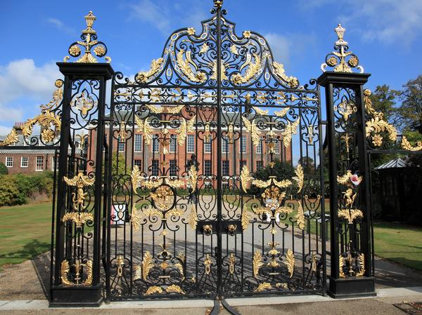 Magnificent black wrought iron and gold gates at Kensington Palace