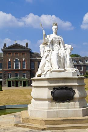 Statue of Queen Victoria situated outside Kensington Palace in London.