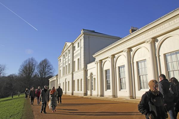 The front of Kenwood House, with tourists