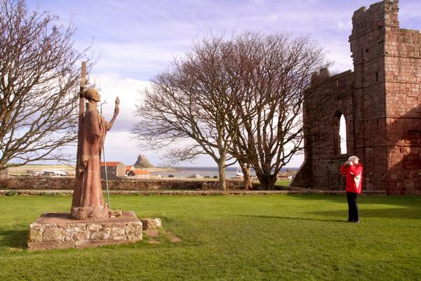 Statue in the grounds of Lindisfarne Priory