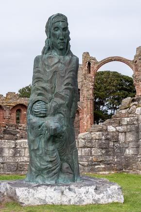 Statue in the ruins of Lindisfarne Priory
