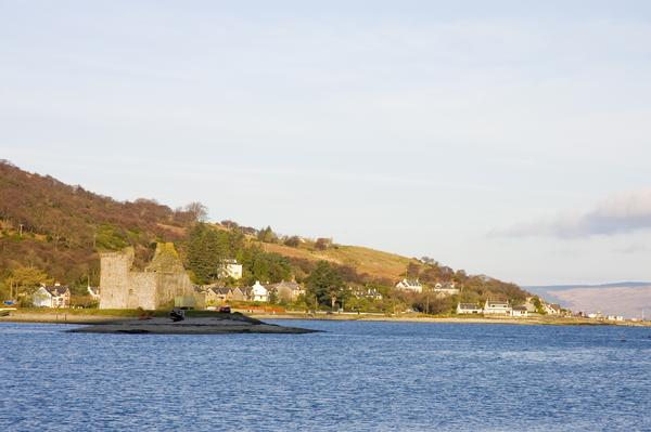 Distant view across the water of Lochranza Castle