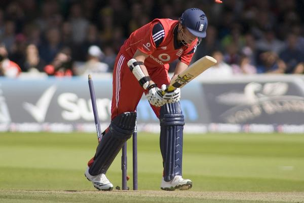 England player Stuart Broad is bowled out during a one day international cricket match between England and Australia