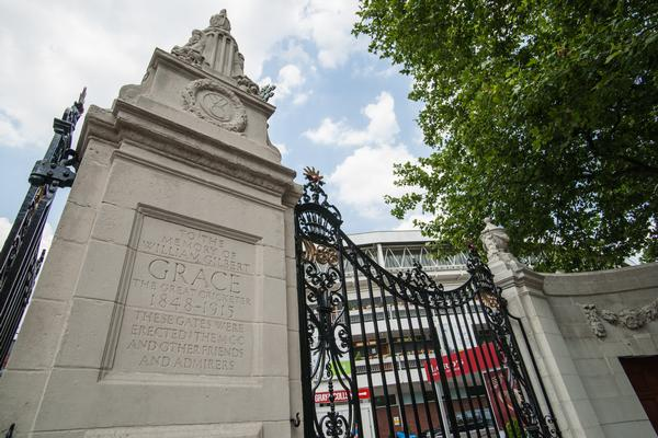 Entrance gate to Lords Cricket Ground commemorating the famous player W G Grace