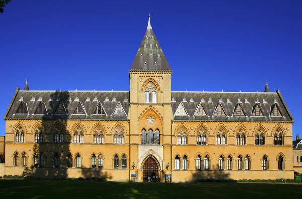 The Natural History Museum at Oxford University with distinctive neo-gothic architecture.