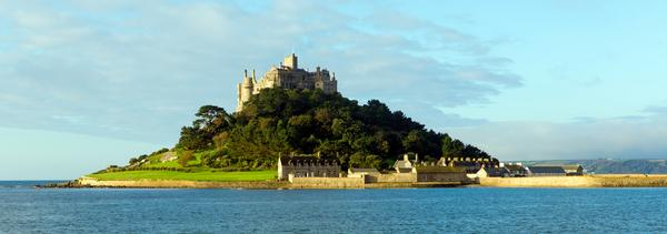Distant view of St Michael's Mount with sea in foreground