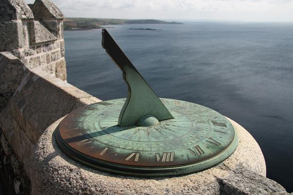 Ancient sundial on the castle walls of Saint Michael's Mount