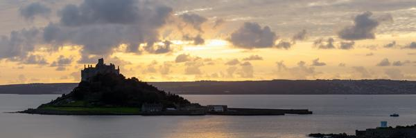 St Michaels Mount and Marazion at sunset