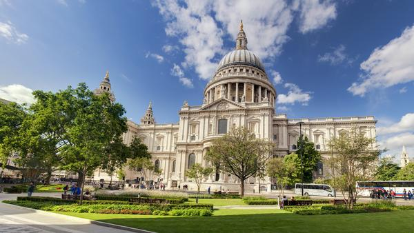 Magnificent View of St Paul's Cathedral on a sunny day with blue sky