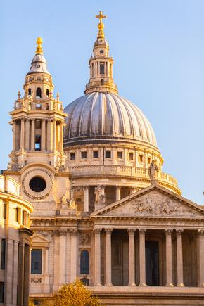 St Paul's Cathedral bathed in golden sunlight