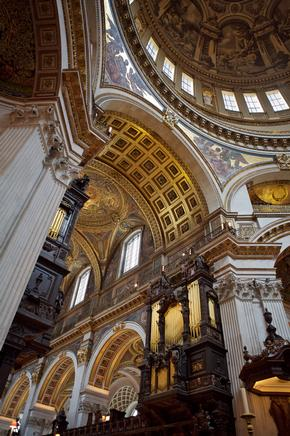St Paul's Cathedral interior, including painted archways and the main dome