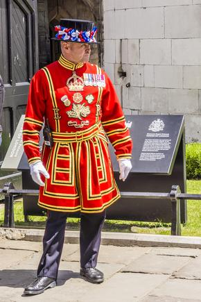 Beefeater Yeoman Warder on a sunny day at the Tower of London