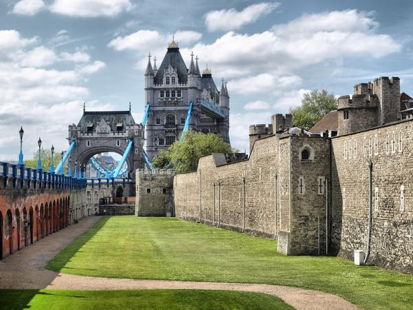 Tower of London Moat with Tower Bridge in the background
