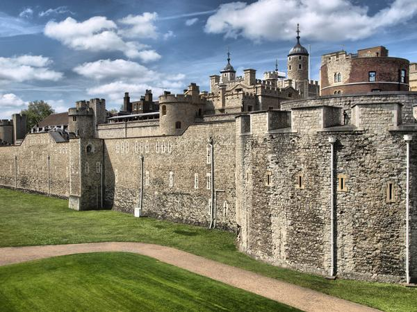 Moat and exterior walls at the Tower of London