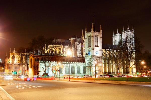 Westminster Abbey illuminated at night