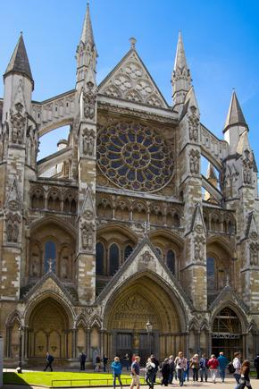 The front of Westminster Abbey, London