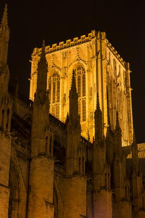 York Minster central tower at night