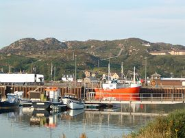 Looking towards Polcraig across the harbour.
