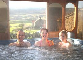 Guests in the hot tub