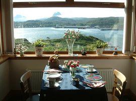 Breakfast overlooking Lochinver Bay