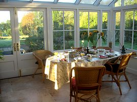 Breakfast is sometimes in the conservatory.