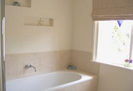 Taupe room bathroom