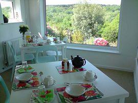 Breakfast room overlooking the gardens.
