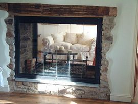 The glass fronted fireplace