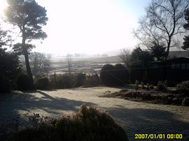 Garden view o a frosty morning