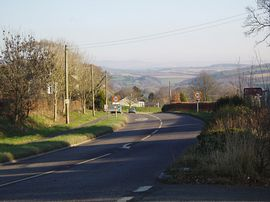 The entrance to Lifton with Dartmoor ahead