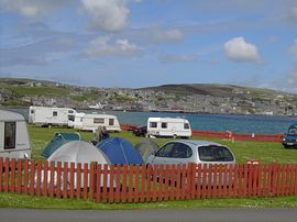 Campsite with Stromness in background