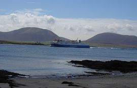 View of the Hamnavoe entering Stromness harbour