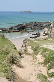 Gwithian beach with Godrevy in the distance.
