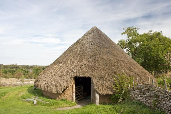 Reconstruction of an Iron Age hut or house at Archeolink in Aberdeenshire